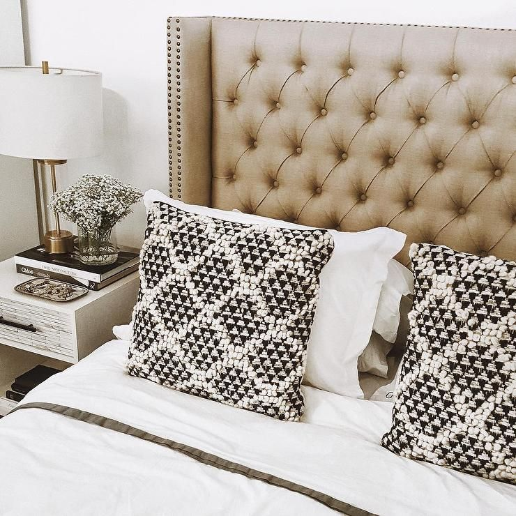 A Gorgeous Taupe Leather Headboard Featuring Diamond
