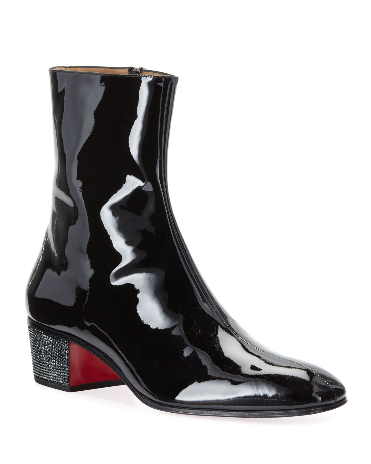 PALACE CRYSTAL PATENT RED SOLE BOOTS