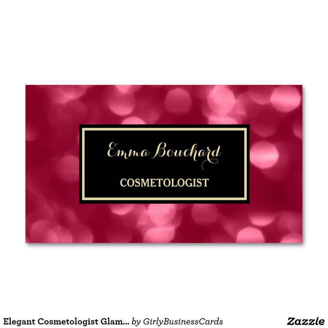 Elegant Cosmetologist Glamorous Pink Luxe Bokeh Business Card ...