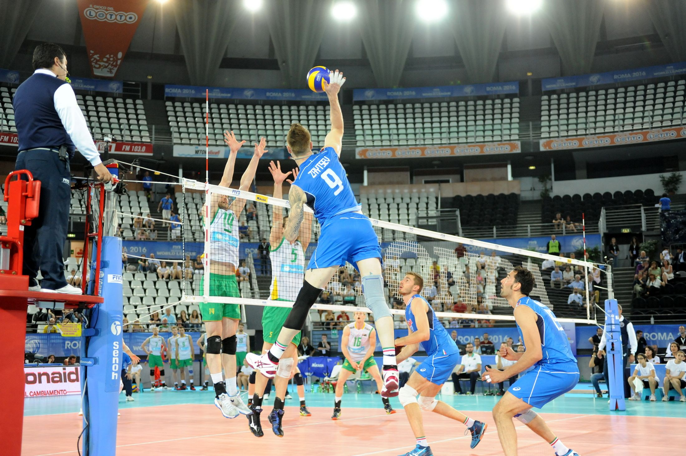 Spike Of Ivan Zaytsev Against Australia From The 2016 World League Volleyball League Basketball Court