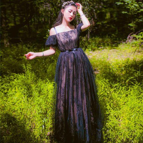 220393b8639 Vintage-Elegant-Palace-Mori-Girl-Sweet-Lolita-Black-Lace-Princess-Fairy- Dress