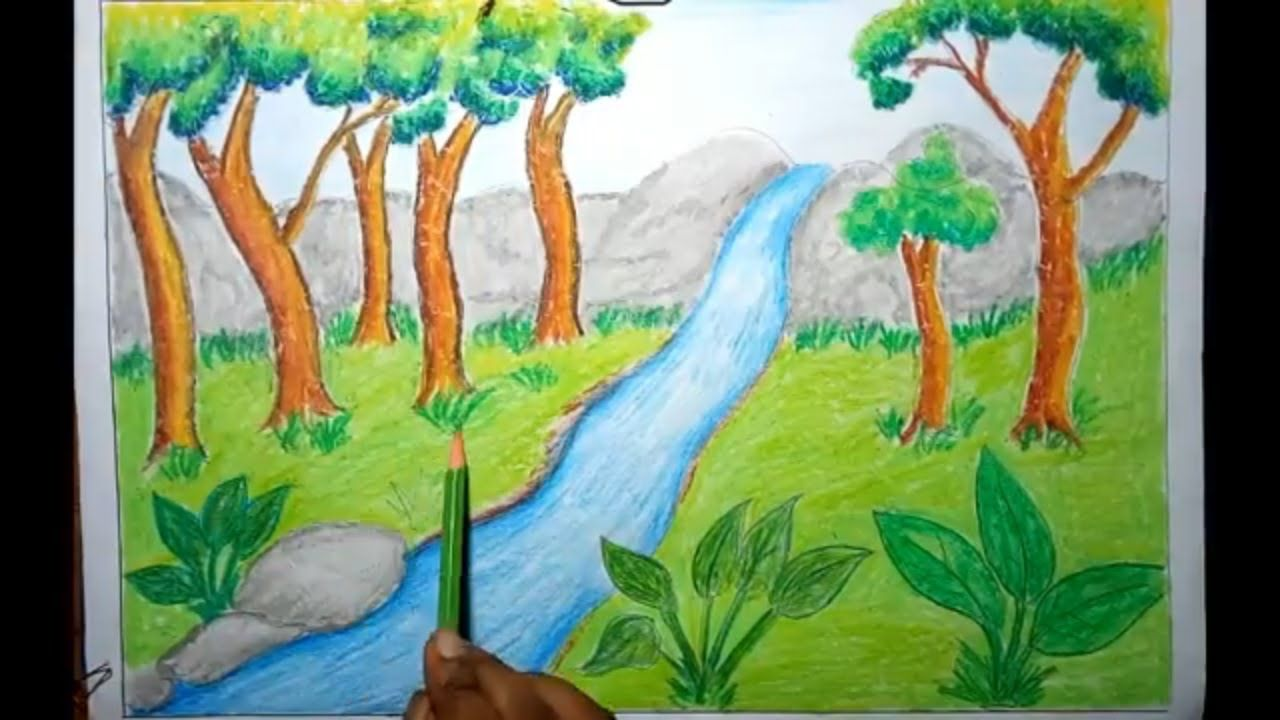 How To Draw Rainforest Jungle Scenery For Kids Step By Step Easy Jungle Drawing Easy Drawings Drawings