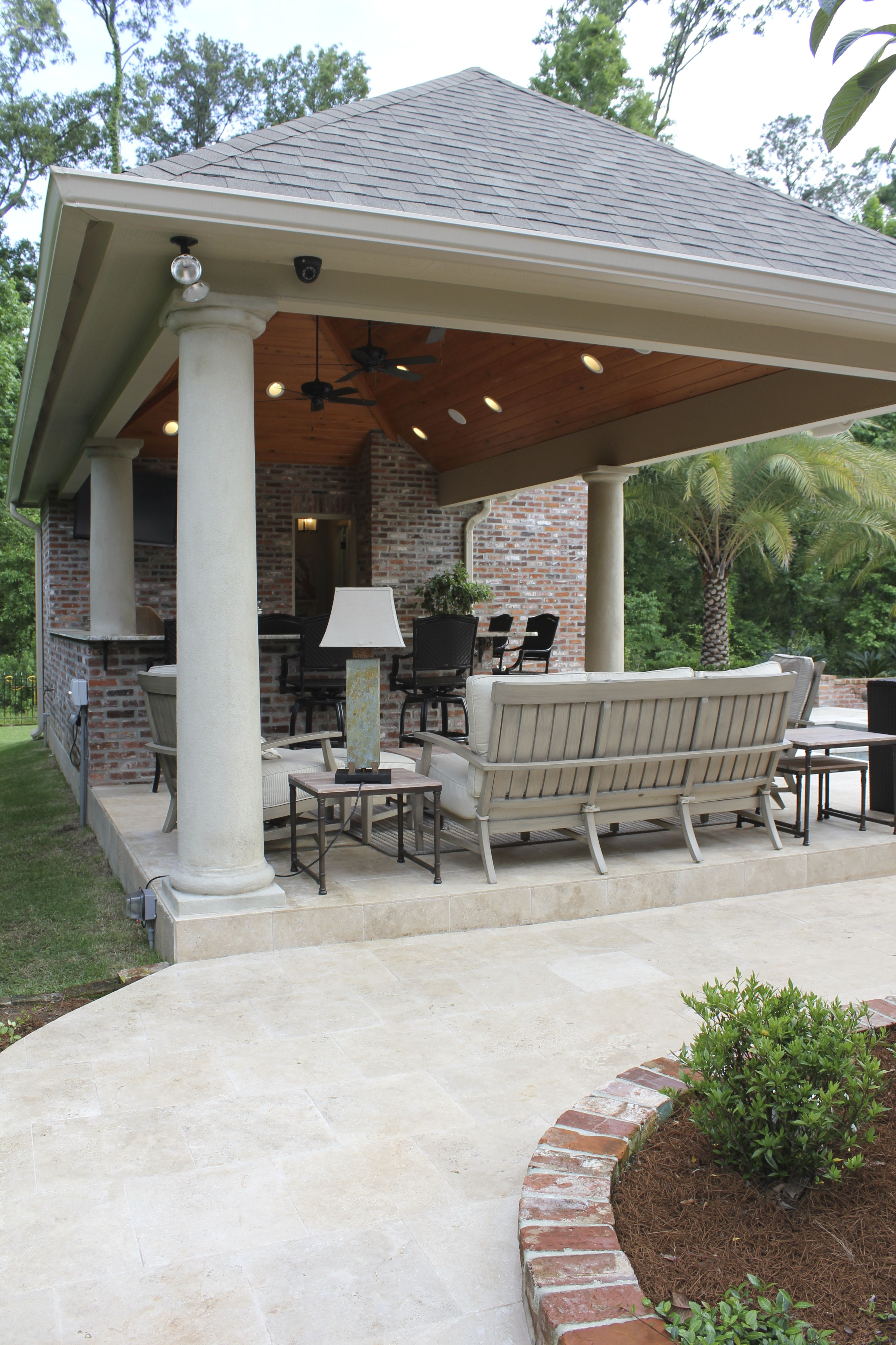 Pool House Bar With Counter Stools Sofa Area Tv And A
