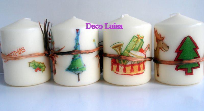 Velas decoradas con decoupage motivos navideños Pueden ser con