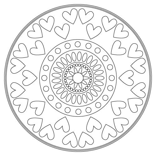 Valentine S Day Heart Mandalas Mandala Coloring Mandala Coloring Pages Coloring Pages