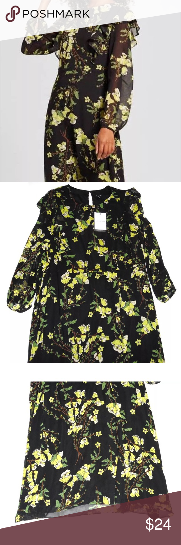 New Who What Wear Black Yellow Floral Dress Yellow Floral Dress Who What Wear Floral Dress [ 1740 x 580 Pixel ]