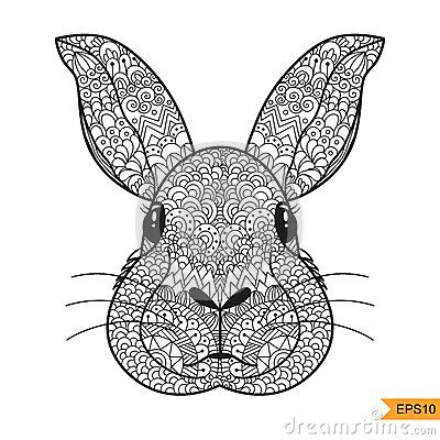 adult rabbit coloring pages zentangle rabbit head for adult antistress coloring page shirt design