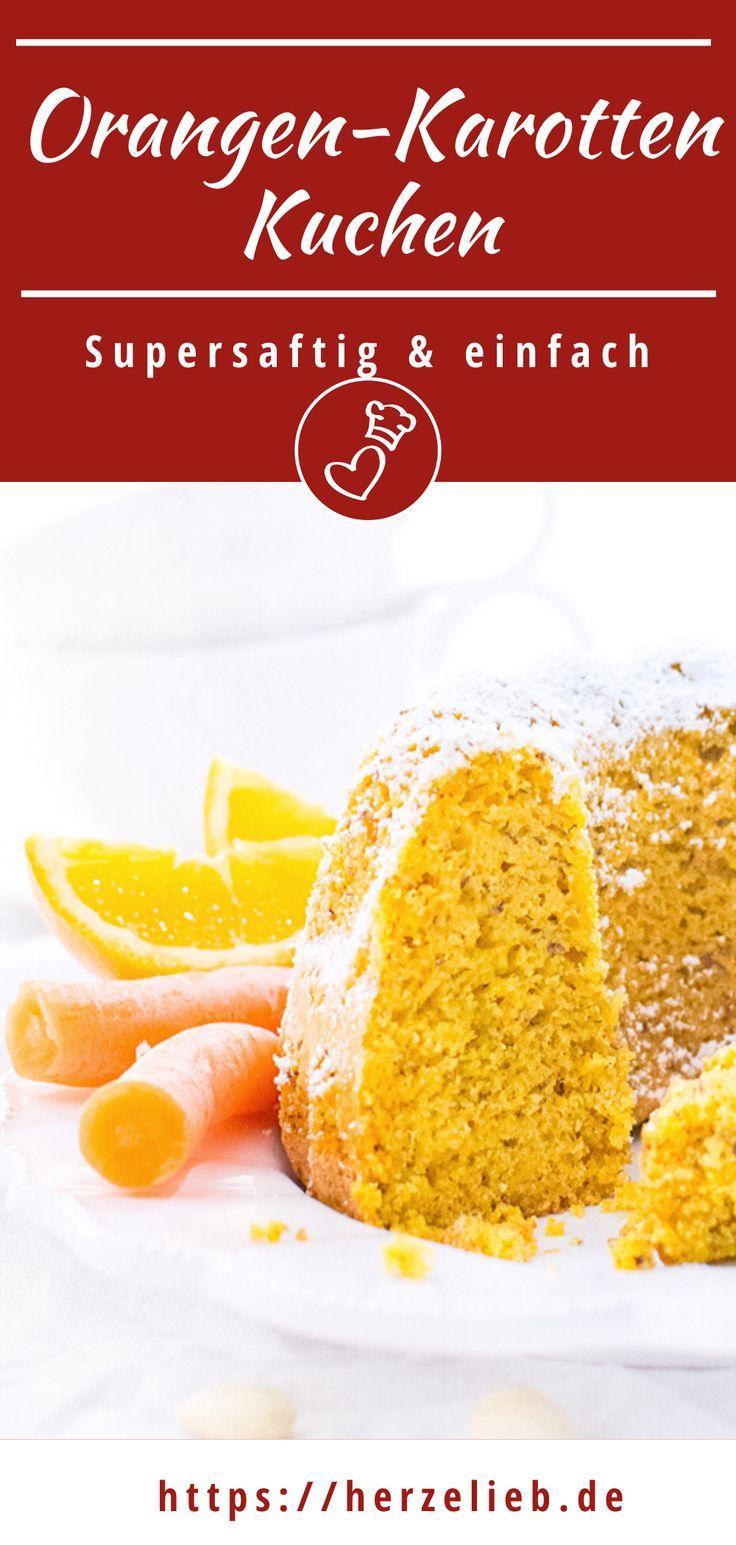 Orangen-Karottenkuchen mit Mandeln - supersaftig