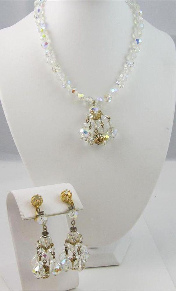 Vintage Aurora Borealis AB Crystal Dangle Necklace & Clip On Earrings SET