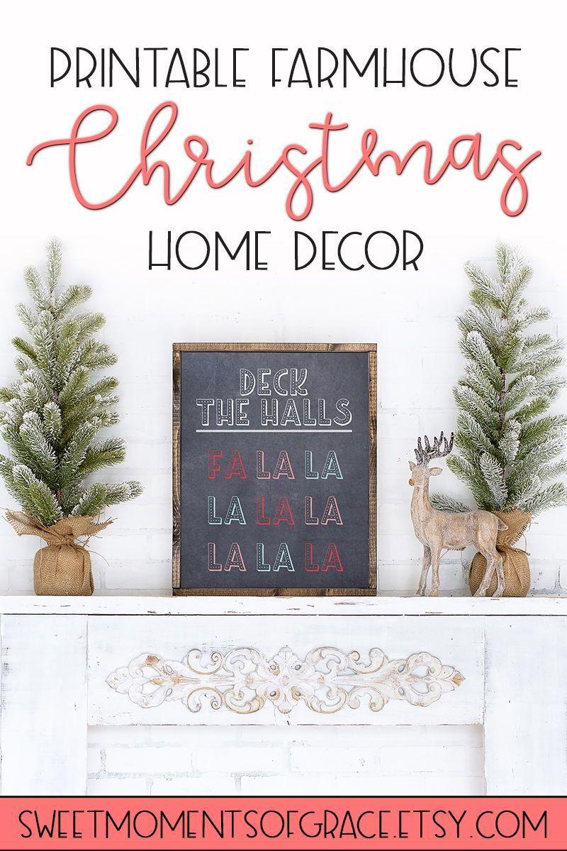 Deck The Halls Fa La La Printable Wall Art Christmas Etsy In 2020 Christmas Chalkboard Seasonal Home Decor Decor