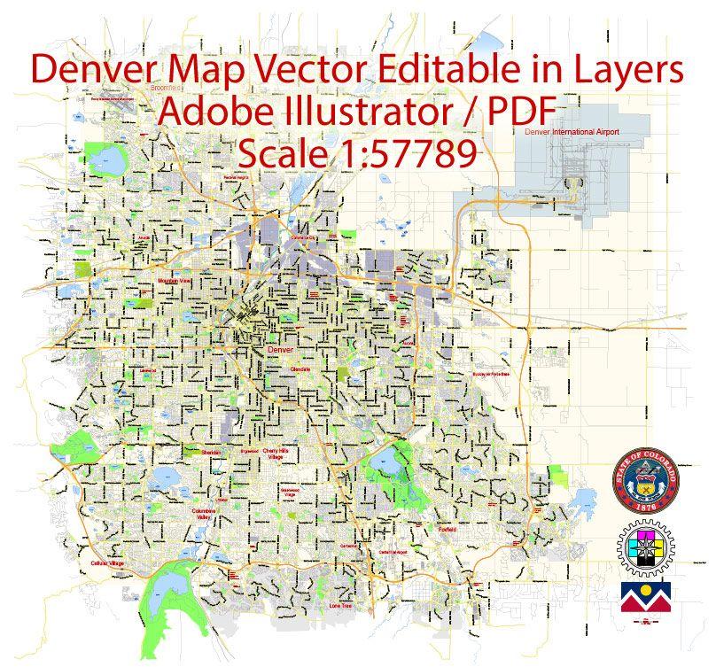 Denver Map Vector Colorado Us Exact City Plan Scale 1 57789 Full