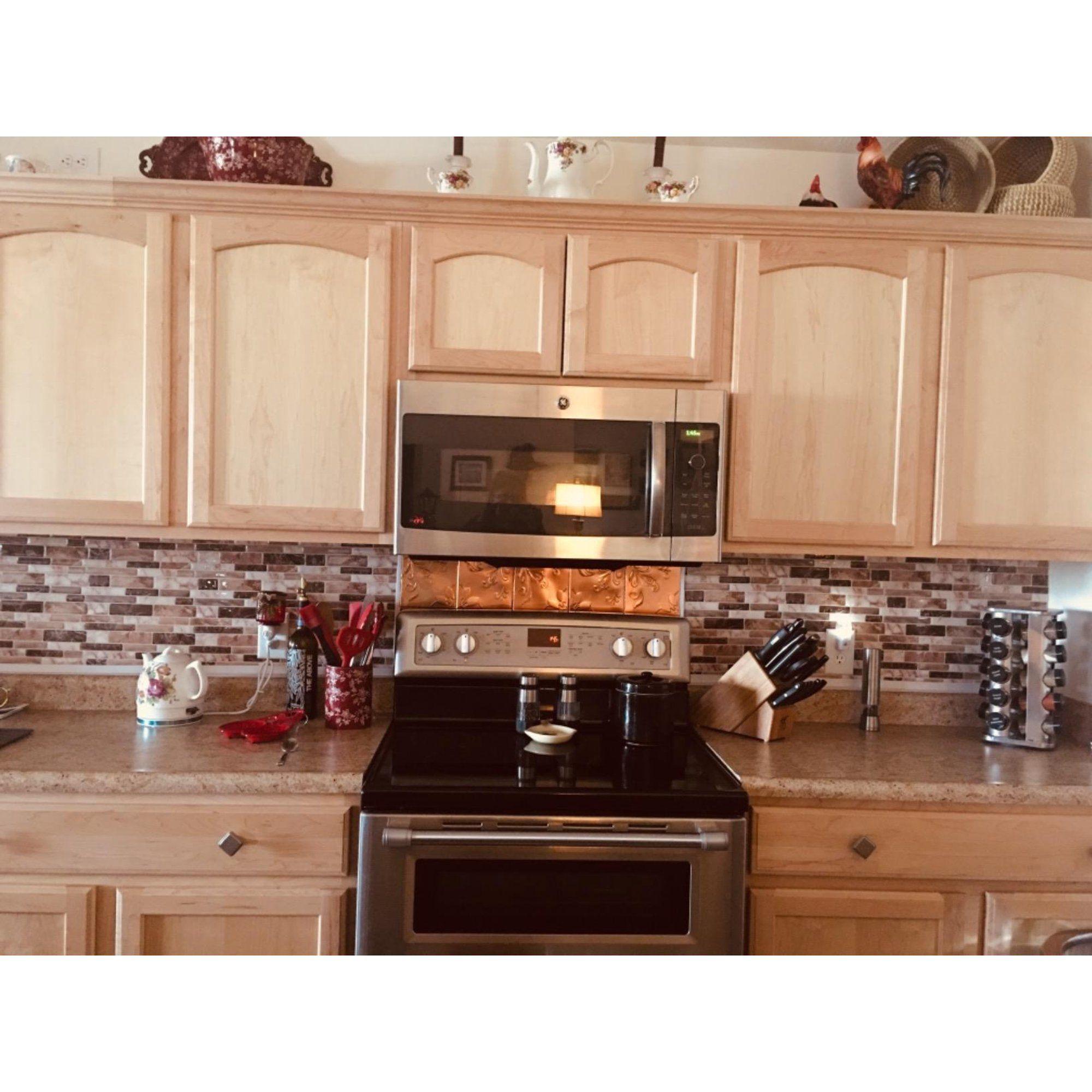 10 Sheets Peel And Stick Tile Backsplash For Kitchen In Marble Design Walmart Com In 2020 Kitchen Tile Backsplash With Oak Kitchen Remodel Layout Kitchen Remodel