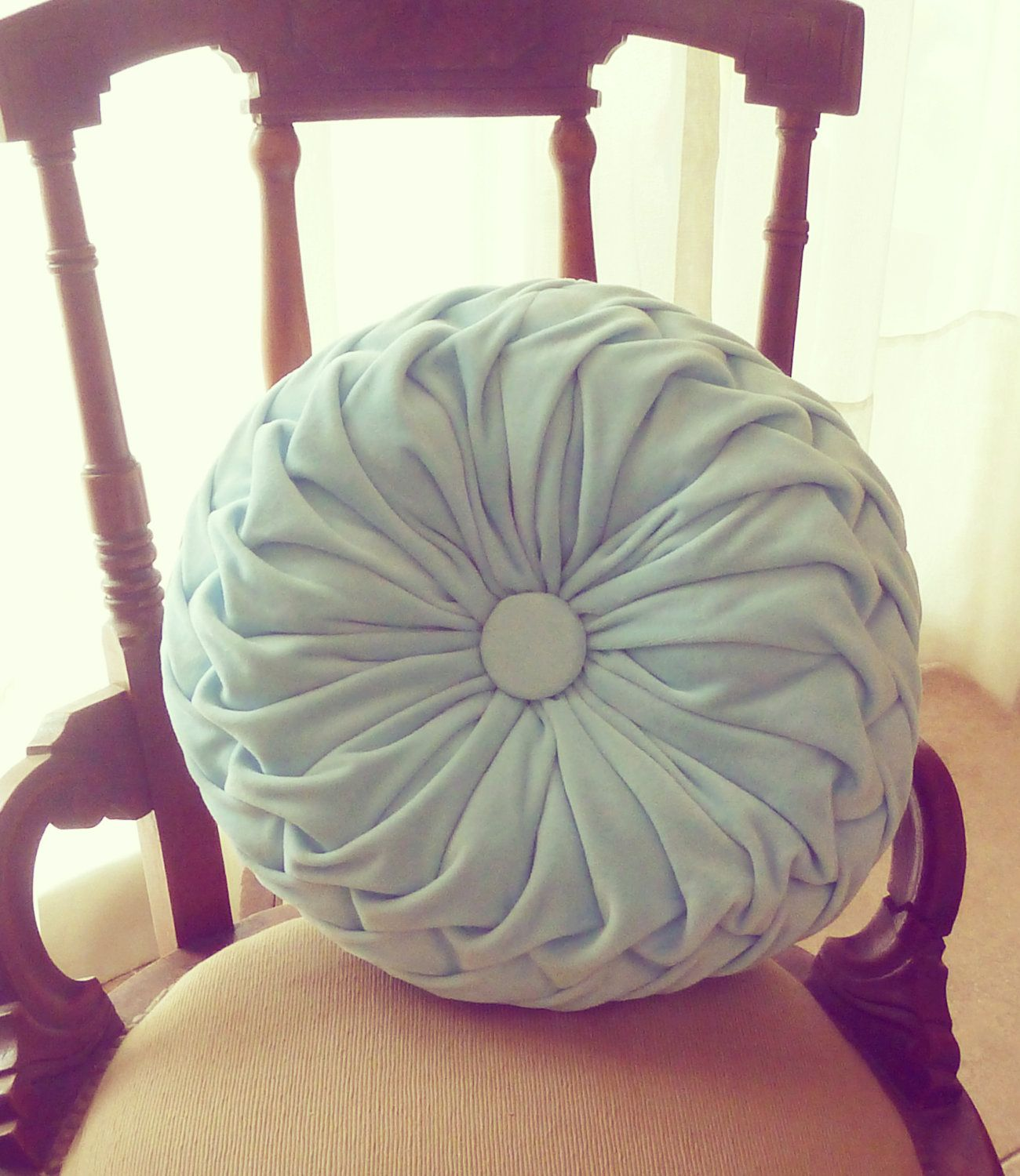 Smocked decorative Pillow Tutorial Sewing Pattern PDF - how to fabric cover round cushion ...