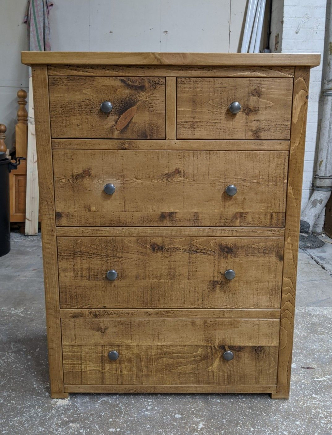 Bespoke Rustic Pine Wood Chest Of Drawers Wood Chest Pine Furniture Pewter Handles Real wood chest of drawers