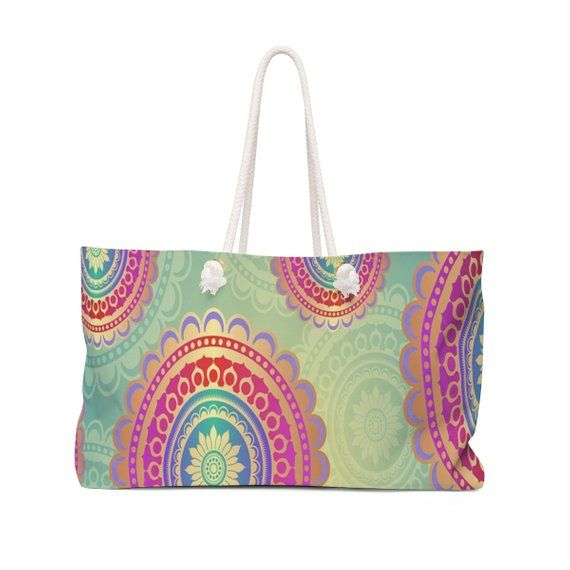 Colorful Circles Weekender Bag Tote Overnight Carry All Gift For Her Birthday Tra