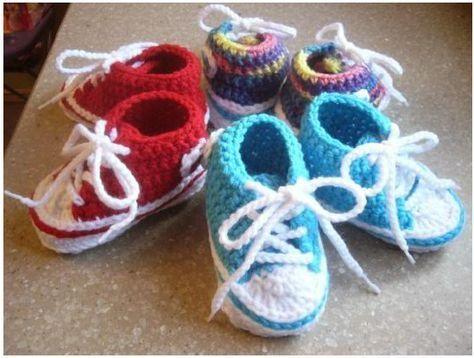 Blue Stars Anleitung Für Baby Chucks Handarbeiten Pinterest