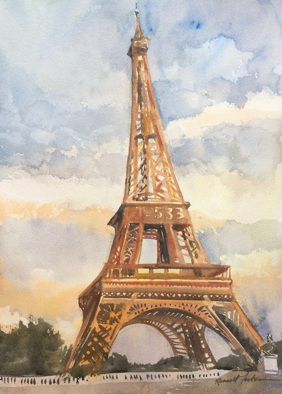 Eiffel Tower Original Watercolor Paris France Sunset