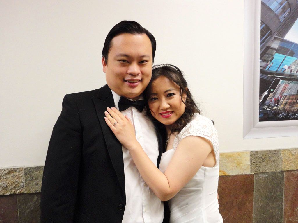Family photo of the tv-personality, musician, , married to Jian Teng, famous for American Idol.