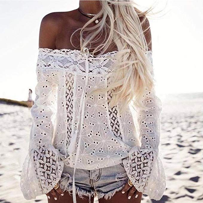 efabe17aa4e Joint Women Boho Blouse Summer Off Shoulder Long Sleeve Lace Loose Tops T- Shirt   bohemian style tunic tops   Chic Fashion for Women  bohoblouse ...
