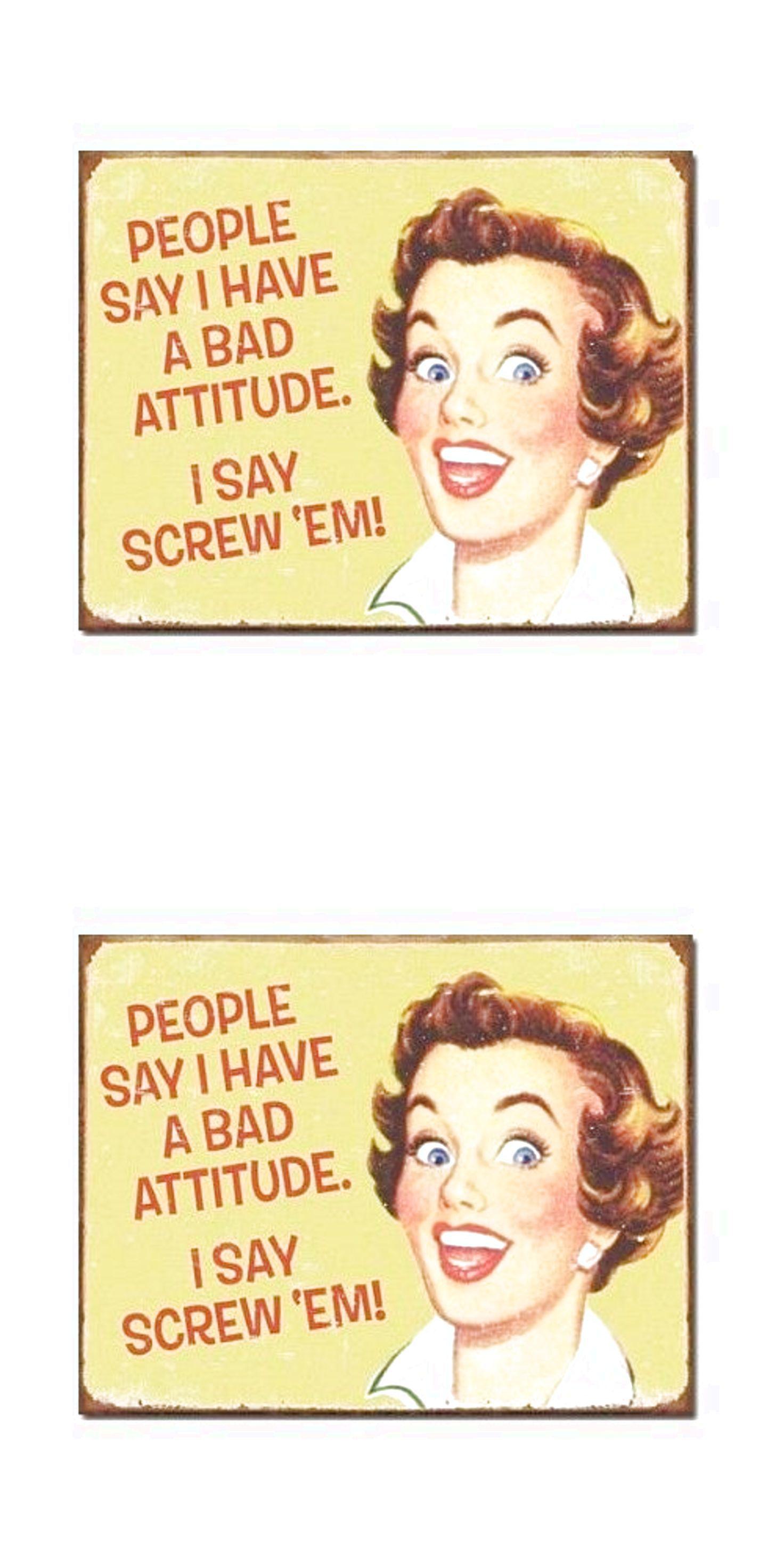 Funny Tin Sign Bad Attitude Retro Vintage Women Wall Art Home Office ...