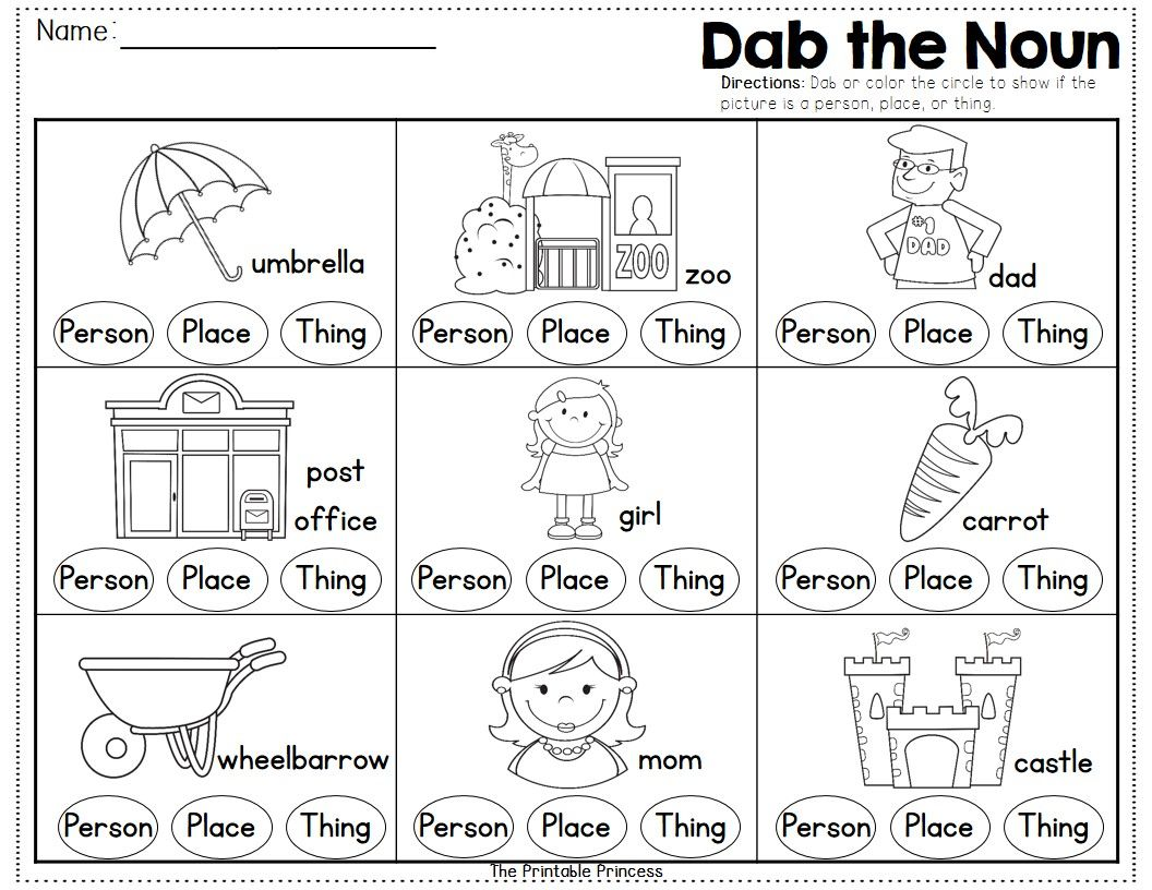 Fun Way To Practice Nouns Use A Bingo Dabber To Dab If The Picture Is A Person Place Or Thing Nouns Worksheet Kindergarten Worksheets Nouns Kindergarten [ 816 x 1056 Pixel ]
