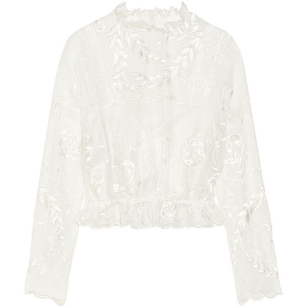 Alberta Ferretti Embroidered silk-chiffon blouse (£513) ❤ liked on Polyvore featuring tops, blouses, alberta ferretti, shirts, long sleeved, white, embroidery shirts, snap button shirts, embroidered shirts and white shirt blouse