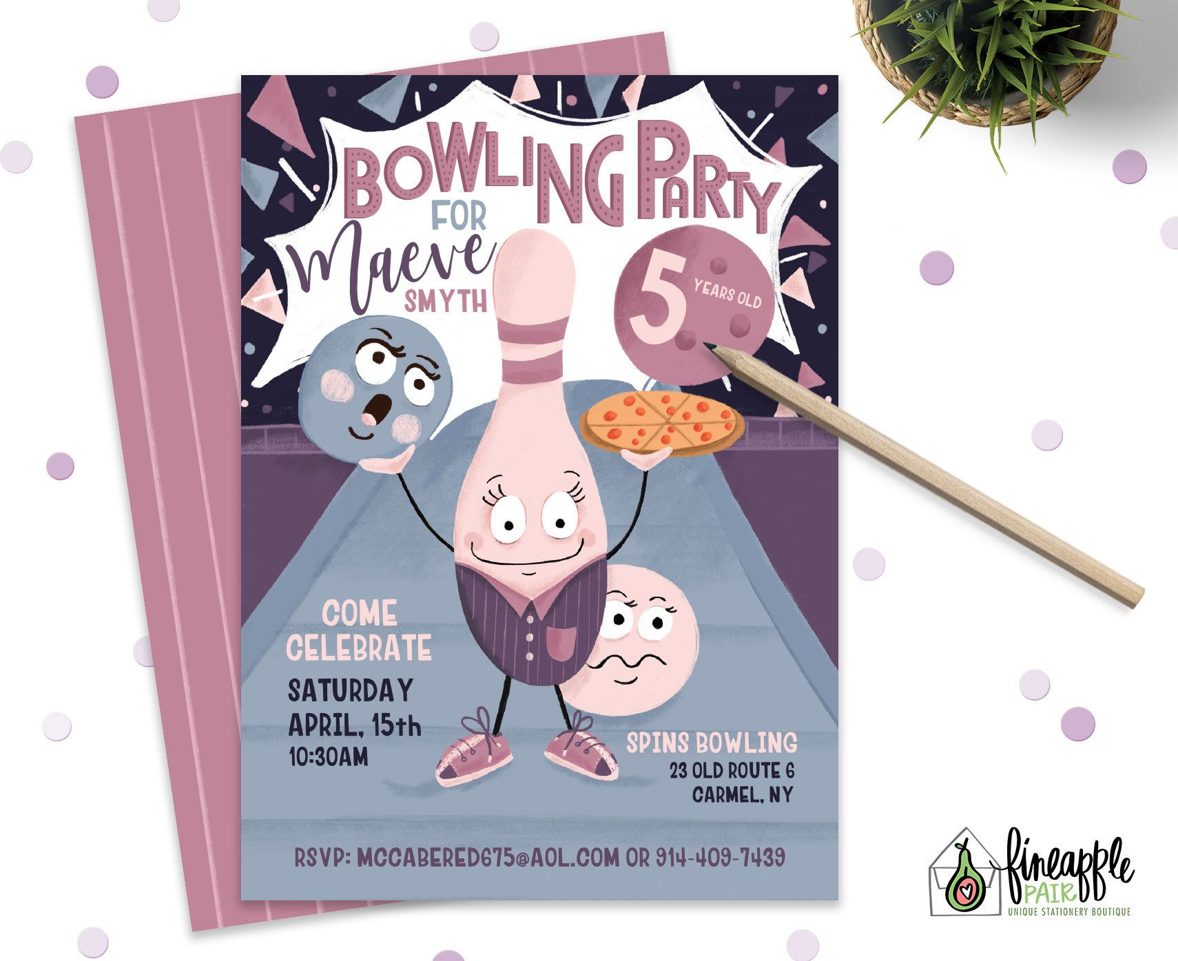Bowling Birthday Party Invite Girl Invitation Custom Diy
