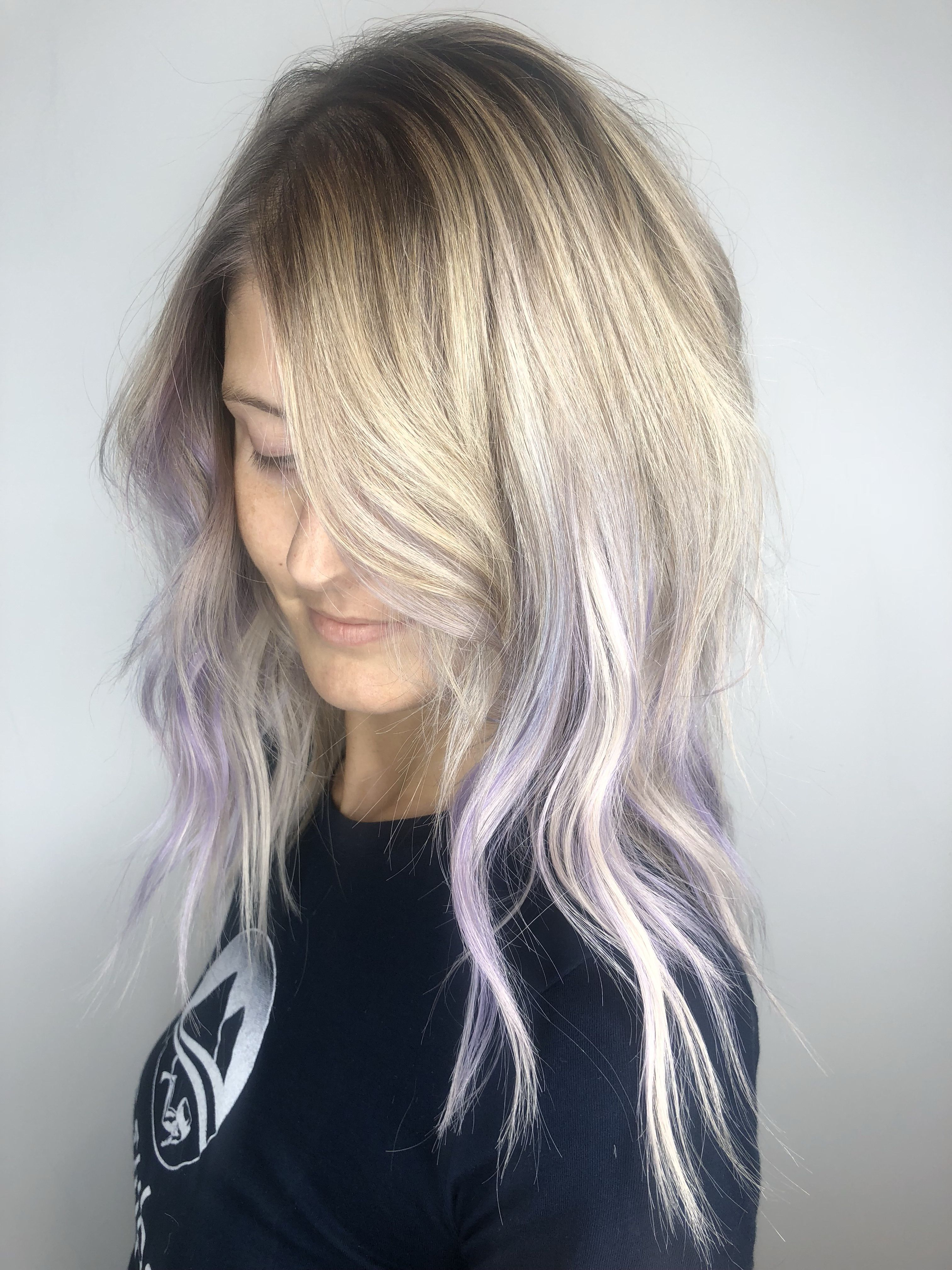 Purple Ombre Platinum Blonde Hair Blonde Hair Tips Hair
