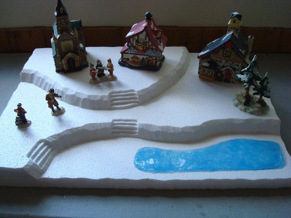 Dept56 Lemax Dickens Snow Village CIC - Village Display Base Platform J8(Large)