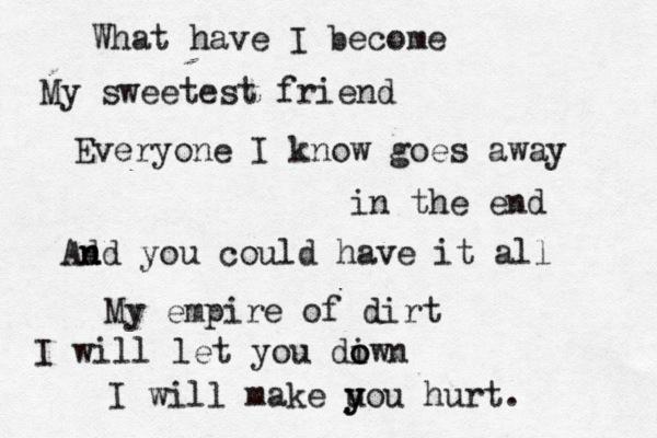 Song lyrics hurt nine inch nails