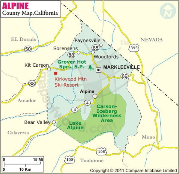Alpine County Map Grover Hot Springs State Park Maps