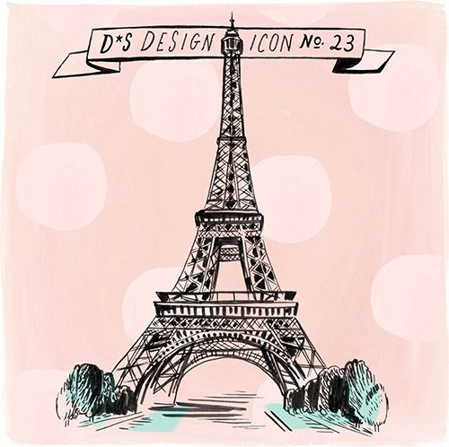 An ode to l'amour: today's Design Icon is The Eiffel Tower (Illustration by Libby Van der Phloeg #eiffel #eiffeltower #france #paris #love