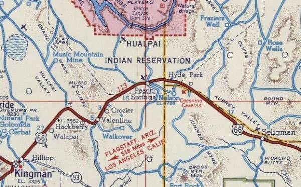 Route 66 from Seligman to Kingman in a 1951 map Arizona | rt66 ... on las vegas map, greasewood arizona map, golden valley arizona map, durango arizona map, mohave county arizona map, klondyke arizona map, havasu city arizona map, two guns arizona map, skywalk arizona map, las cruces arizona map, route 66 arizona map, wupatki national monument arizona map, phoenix map, mesquite arizona map, reno arizona map, tucson map, humboldt arizona map, boise arizona map, santa fe arizona map, needles california map,