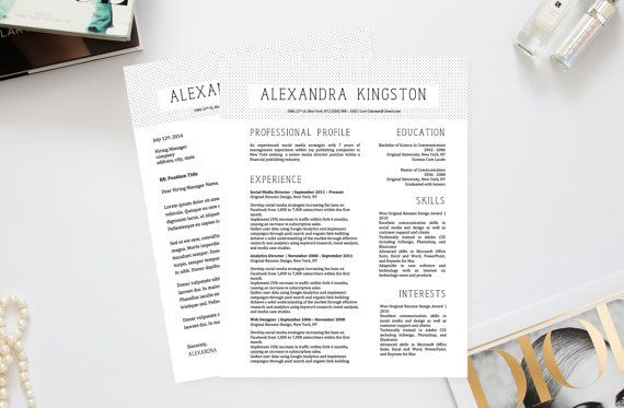 Alexandra Kingston Modern Fancy Resume + Cover Letter Template For