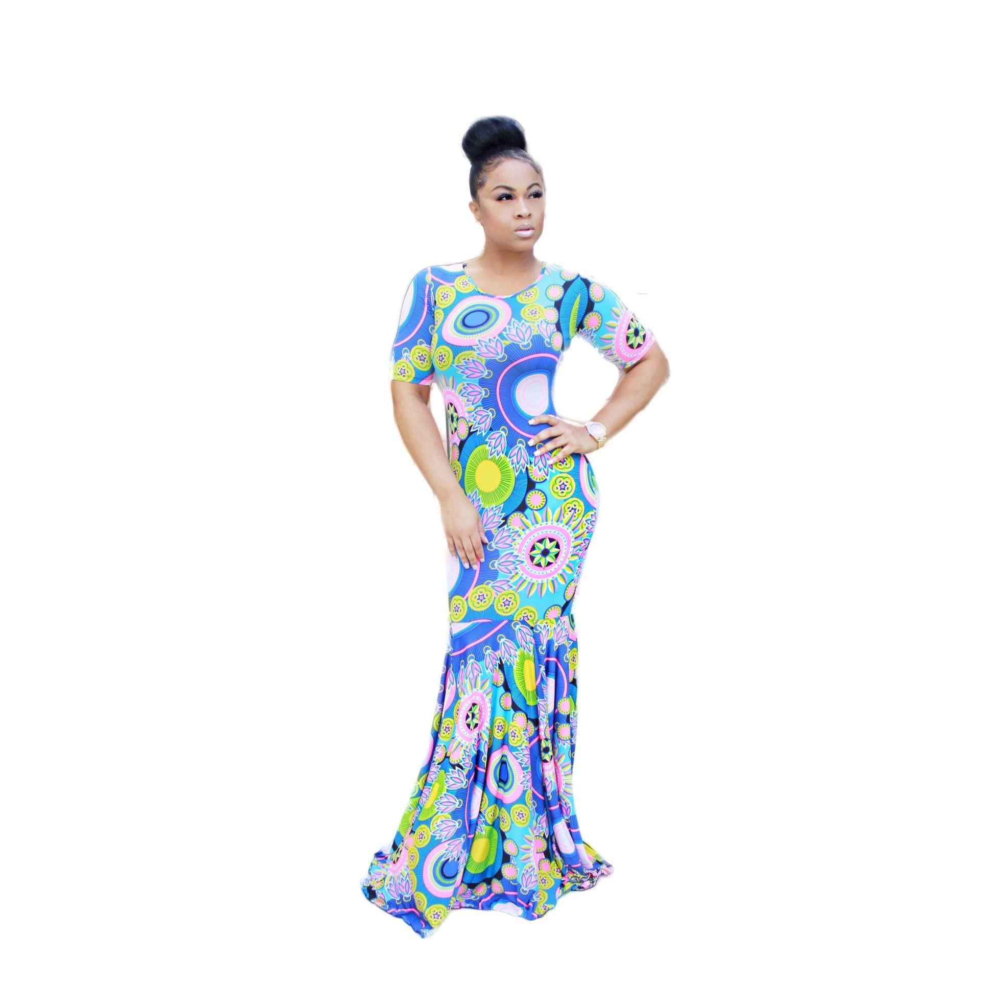 2016 Kurzarm Abendkleid Maxi Print Kleider Top Qualität Hohe Design ...