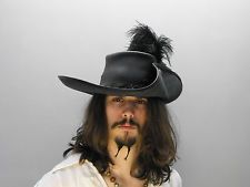 Black Musketeer Fancy Dress Cavalier Costume Hat with Feather