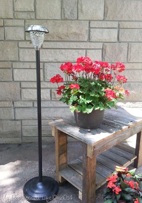 Repurposed Floor Lamps Make Great Patio Solar Lights