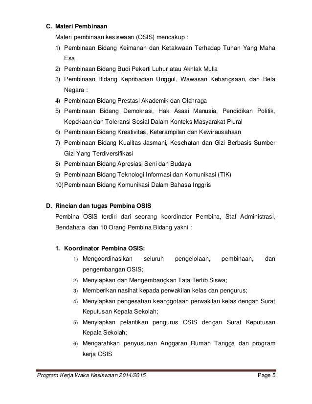 Program Kerja Waka Kesiswaan 2014 2015 Page 5c Materi Pembinaanmateri Pembinaan Kesiswaan Osis Mencakup 1 Pembinaa Excel Programming