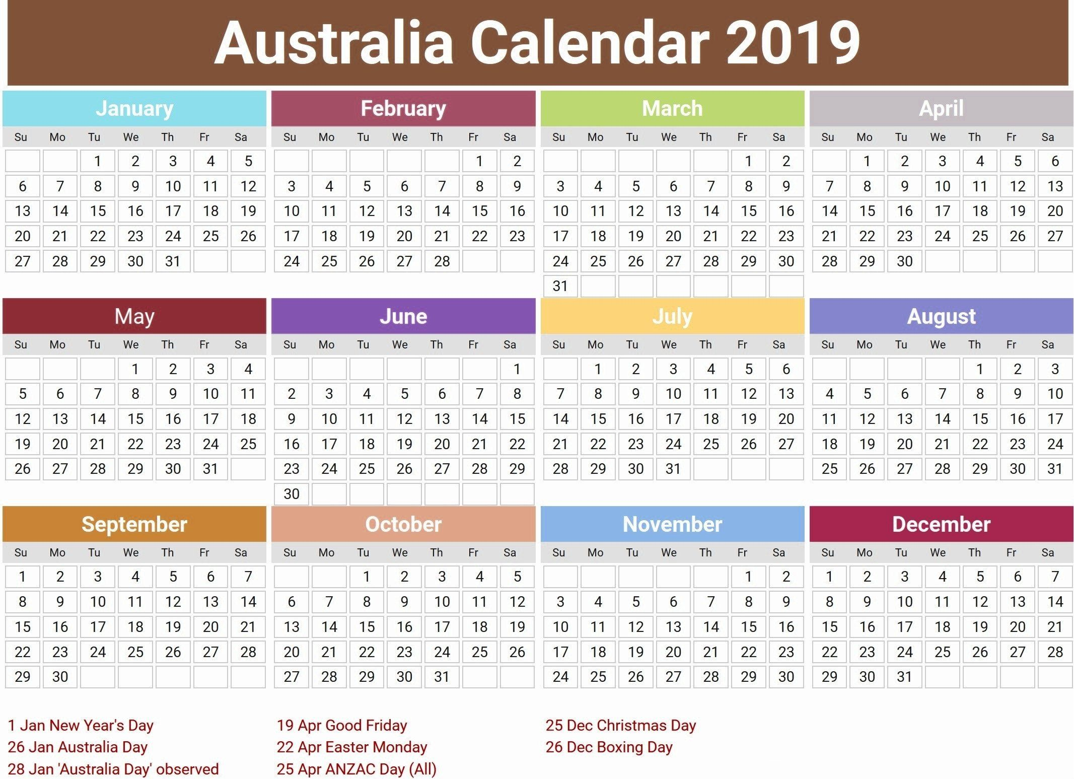 Australian 2019 Calendar australia 2019 calendar with holidays | Printable Calendar 2019