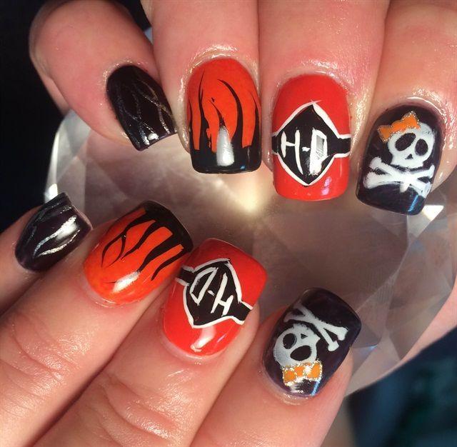 Day 25 Harley Davidson Nail Art Nails Nail Art Toe Nail Art