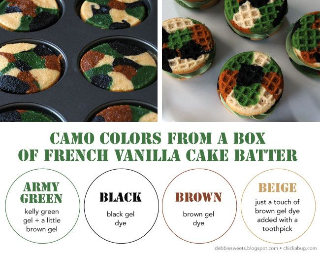 How to make camo cupcake sandwiches Camo cupcakes Camo colors and