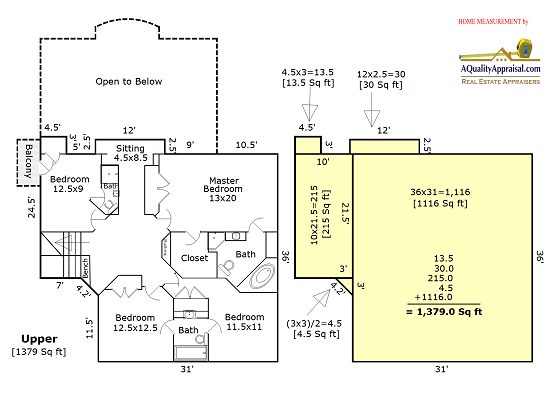 how to calculate square feet of house