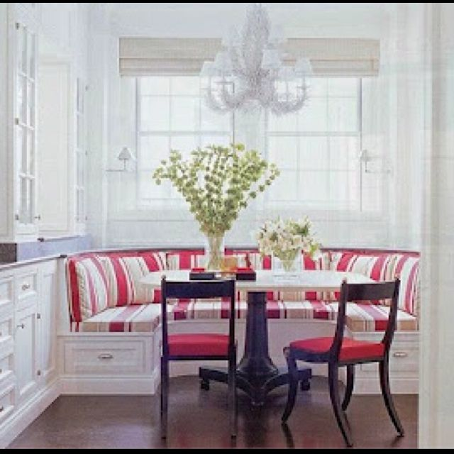 Bay window breakfast nook built in but on a smaller for Nook decorating ideas
