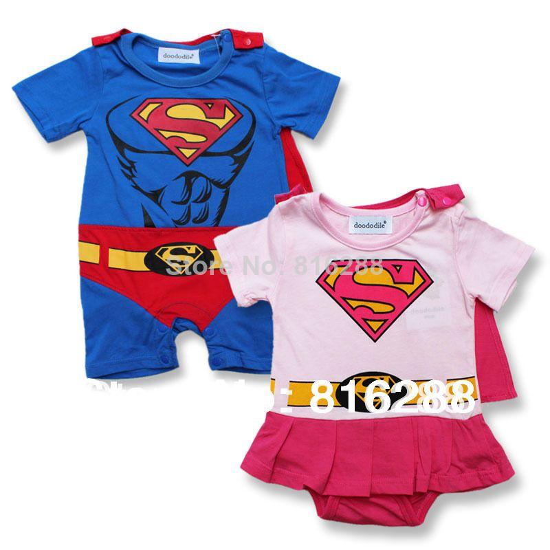 45eeb120 caliente nueva superman de bebé niño niñas mamelucos del bebé de verano la  moda traje de bebé de algodón mamelucos ropa para niños de manga corta
