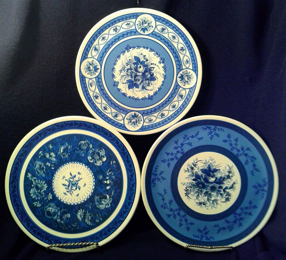 Blue And White Decorative Wall Plates Custom New Lillian Vernon 3 Bluewhite Plates Flower Motif Decorative Inspiration