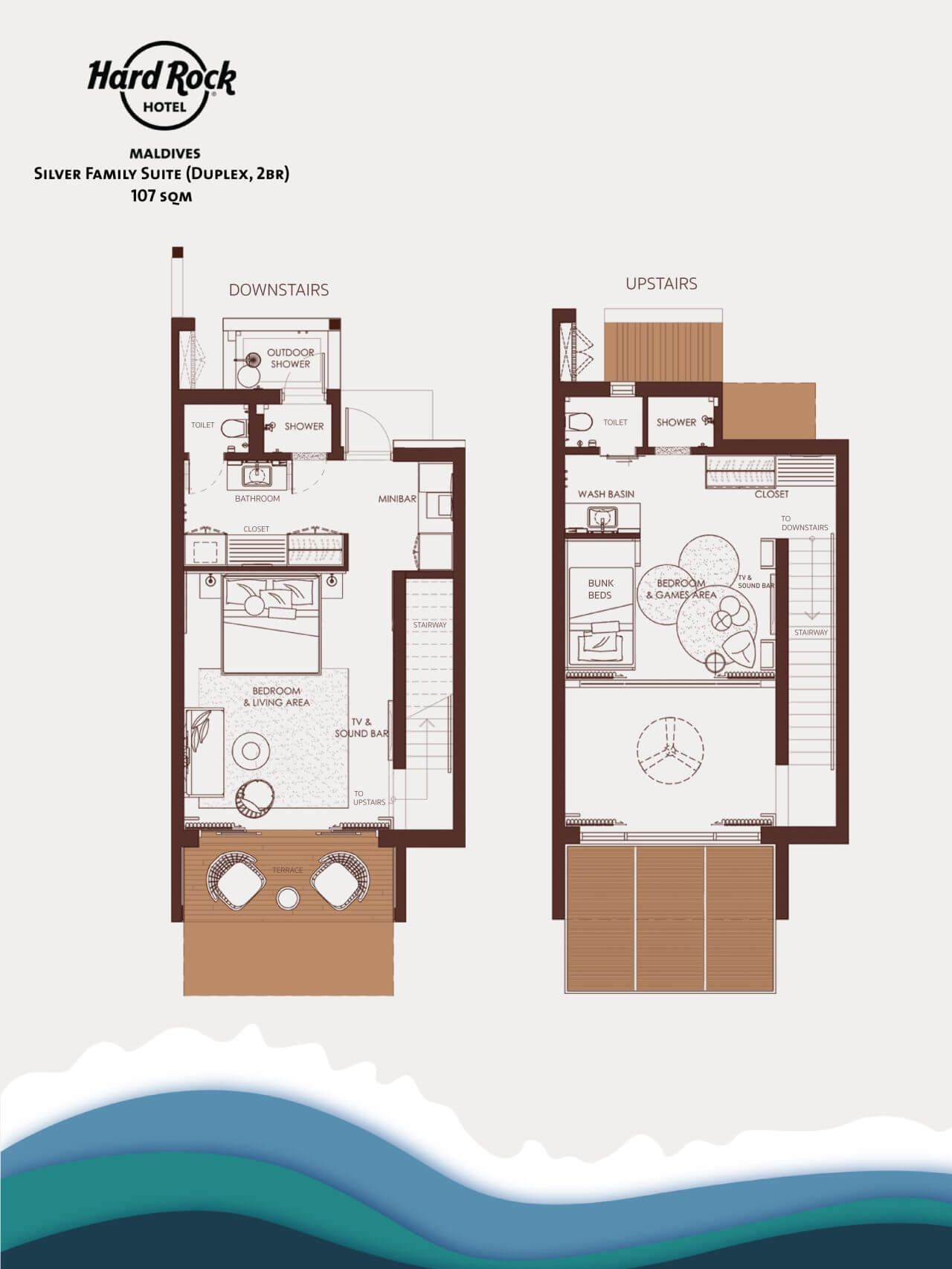 Hard Rock Hotel Maldives Silver Family Suite Duplex 2br 107 Sqm Hard Rock Hotel Hotel Room Design Plan Hotel Plan