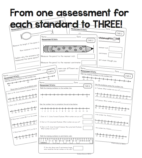 Second Grade Common Core Math Assessments w/ kid friendly