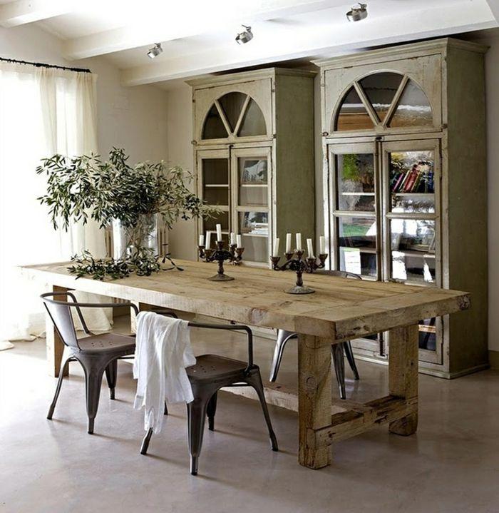 nice esszimmer rustikal gestalten #1: rustikale möbel esszimmer gestalten pflanzen kerzen kerzenständer