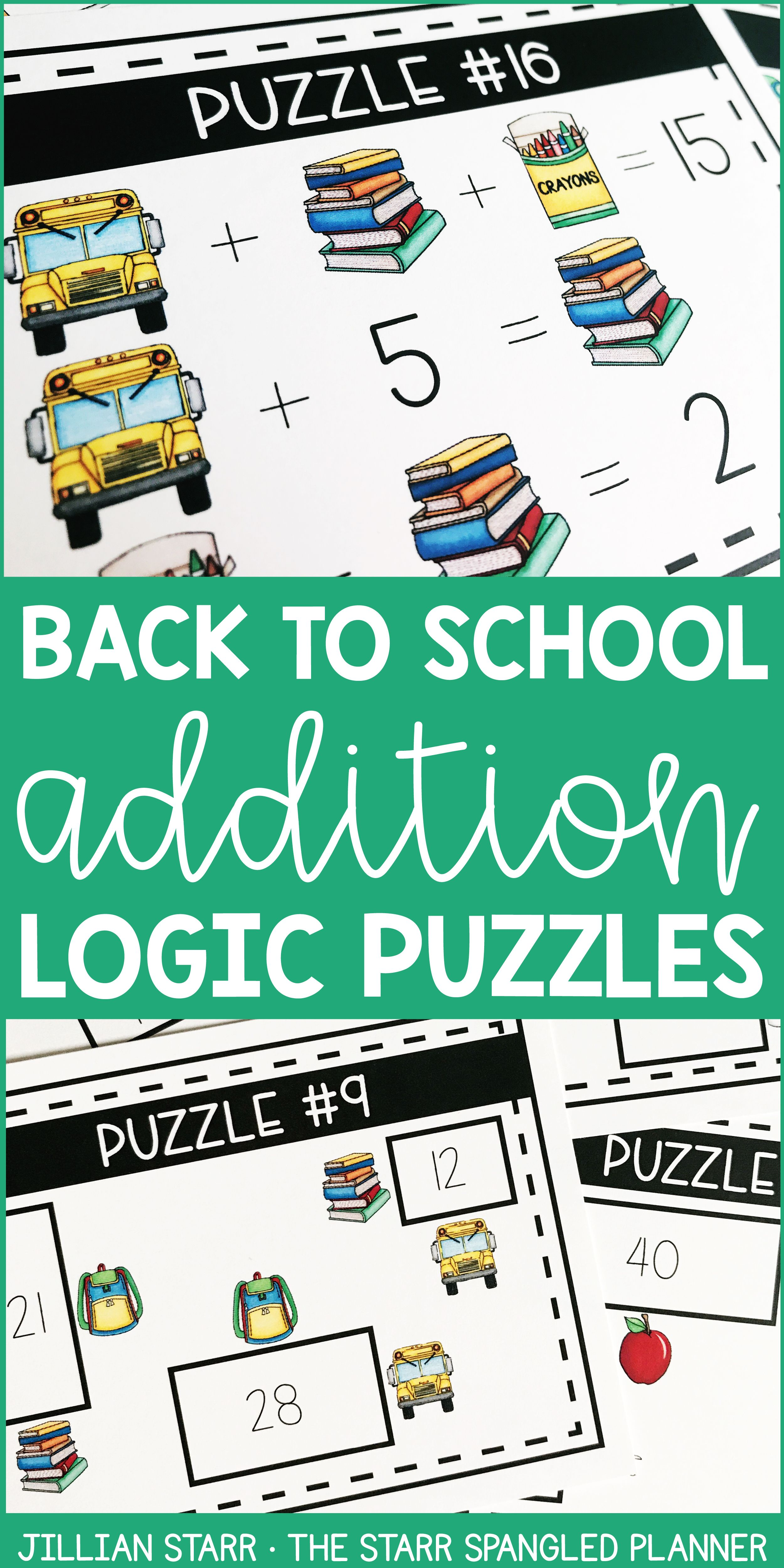 Back To School Math Logic Puzzles Addition And