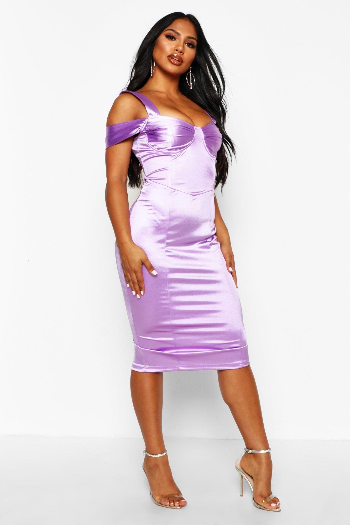 Stretch Satin Bodice Detail Midi Dress Boohoo Purple Midi Dress Bodycon Fashion Dresses [ 2000 x 1333 Pixel ]